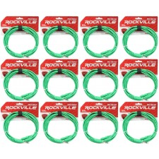 12 Rockville RCTR110G Green 10' 1/4'' TRS to 1/4'' TRS  Cable 100% Copper