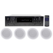 "Technical Pro 6000w (6) Zone Receiver+(8) 8"" Speakers For Restaurant/Bar/Café"