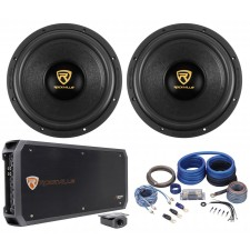 "(2) Rockville W12K9D4 12"" 8000 Watt Car Subwoofers+Mono Amplifier+Copper Amp Kit"