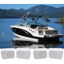 """(4) Rockville HP65S 6.5"""" Marine Box Speakers with Swivel Bracket For Boats"""