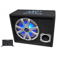 "NYC Acoustics NSE10L 10"" 1000w Powered/Amplified Car Subwoofer/LED Sub Enclosure"