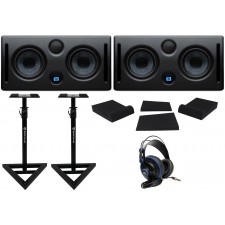 "(2) Presonus ERIS E44 85w Active Dual 4"" Studio Monitors+Headphones+Stands+Pads"