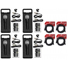 (4) Rockville RMC-XLR Metal Handheld Wired Microphones+(4) 100% OFC XLR Cables