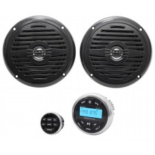 "Hot Tub Audio System w/ Bluetooth Gauge Hole Receiver+(2) 5.25"" Black Speakers"