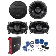 "2) Hifonics ZS653 6.5"" 600W Car Speakers+2) 4x6"" Speakers+4-Ch Amplifier+Amp Kit"