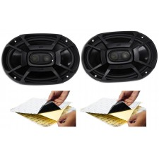 "(2) Polk Audio DB692 6X9"" 450 Watt Car ATV/Motorcycle/Boat Speakers + Rockmat"