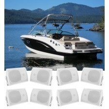 """(8) Rockville HP5S 5.25"""" Marine Box Speakers with Swivel Bracket For Boats"""