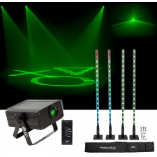 Chauvet DJ FREEDOM STICK PACK w/ (4) DMX Light Fixtures+D-Fi+Remote+Case+Laser