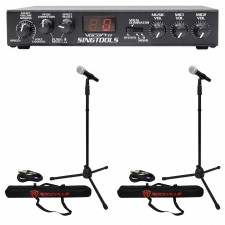 VOCOPRO SINGTOOLS DSP Vocal Effects Karaoke Mixer w/Pitch Correct+2) Mics+Stands