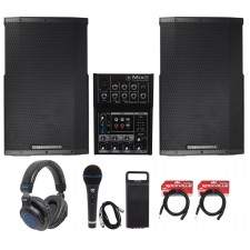 "(2) Cerwin Vega CVE-12 1000w 12"" Powered DJ Speakers+Mackie Mixer+Headphones+Mic"