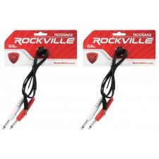 """2 Rockville RCDSM3B 3' 3.5mm 1/8"""" TRS to Dual 1/4"""" Y Cable 100% Copper"""