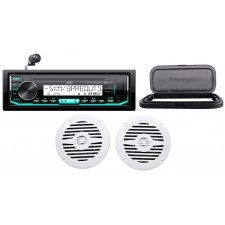 "Hot Tub Audio System w/ JVC Stereo Bluetooth Receiver+(2) 5.25"" White Speakers"