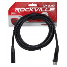 Rockville RDX3M10 10 Foot 3 Pin DMX Lighting Cable 100% OFC Copper Female 2 Male