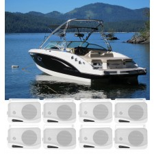 """(8) Rockville HP4S-8 4"""" Marine Box Speakers with Swivel Bracket For Boats"""