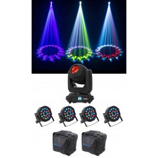 Chauvet DJ Intimidator Beam 140SR DMX Moving Head Light+(4) Wash Lights+Bag
