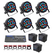 (6) FARENHEIT FHB-118 LED RGB DMX LED PAR Can Wash Lights+Controller+Cables+Bags