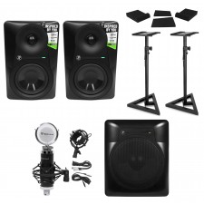 "(2) Mackie MR524 5"" Powered Studio Monitors+10"" Active Sub+Mic+Mount+Stands+Pads"