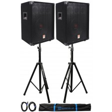 "(2)Rockville RSG10 10"" 400 Watt 2Way 8-Ohm Passive DJ PA Speaker +Stands +Cables"