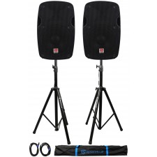 """2) Rockville SPG84 8"""" Passive 800W DJ PA Speakers 4 Ohm 2) Stands+2) Cables+Case"""