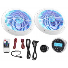 "Hot Tub Audio System w/ Bluetooth Gauge Hole Receiver+2) 6.5"" White LED Speakers"
