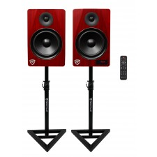 "Rockville HTS8C 8"" 1000W Powered Home Theater Speakers w/Bluetooth/FM/USB+Stands"