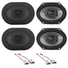 """Front+Rear Rockville 6x8"""" Factory Speaker Replacement Kit For 93-97 Mazda MX6"""