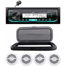 """Hot Tub Audio System w/ JVC Stereo Bluetooth Receiver+(4) 5.25"""" White Speakers"""