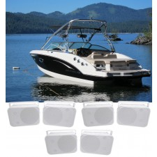 """(6) Rockville HP65S 6.5"""" Marine Box Speakers with Swivel Bracket For Boats"""