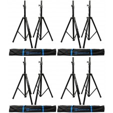 (4) Pairs Rockville Tripod DJ PA Speaker Stands+Carrying Cases - 8 Stands Total