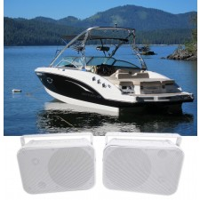 "Pair Rockville HP65S 6.5"" Marine Box Speakers with Swivel Bracket For Boats"