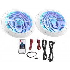 "2) Rockville RMC65LW 6.5"" 600w White Waterproof Hot Tub Speakers w/ LED's+Remote"