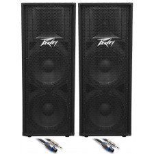 """(2) Peavey PV215 Dual 15"""" Inch Passive PA Speaker +FREE Speaker Cables"""