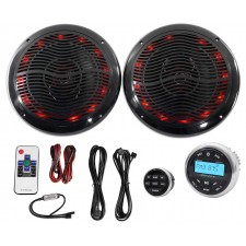 "Hot Tub Audio System w/ Bluetooth Gauge Hole Receiver+2) 6.5"" Black LED Speakers"