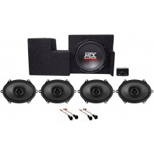 "2009-15 Ford F-150 Super Cab Powered 10"" Subwoofer+Enclosure+Front+Rear Speakers"