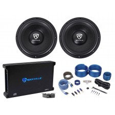 "(2) Rockville W12K6D2 V2 12"" 4800w Car Audio Subwoofers+Mono Amplifier+Amp Kit"