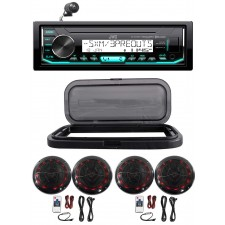 "Hot Tub Audio System w/ JVC Stereo Bluetooth Receiver+4) 6.5"" Black LED Speakers"
