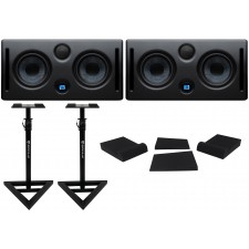 "(2) Presonus ERIS E44 85w Active Powered Dual 4"" MTM Studio Monitors+Stands+Pads"