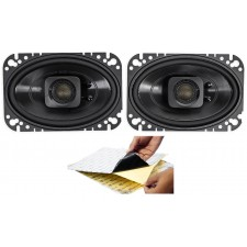"(2) Polk Audio DB462 4x6"" 300w Car Audio ATV/Motorcycle/Boat Speakers + Rockmat"