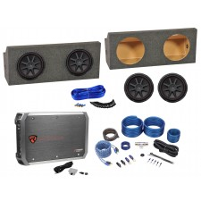 """2005-15 Ford Mustang Non-Convertible Dual 12"""" Kicker Subwoofers+Box+Amp+Wire Kit"""