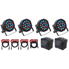 (4) FARENHEIT FHB-118 LED RGB DMX LED PAR Can Wash Lights+(4) Cables+Carry Bag