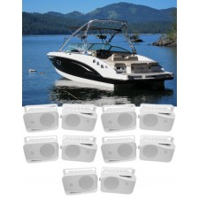"(10) Rockville HP4S 4"" Marine Box Speakers with Swivel Bracket For Boats"