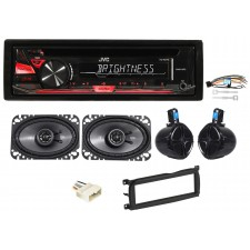 "03-06 Jeep Wrangler Custom System w/JVC CD Receiver+8"" Rollbar Speakers+(2) 4x6"""