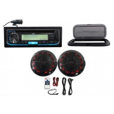 "JVC Hot Tub Audio System w/Stereo Bluetooth Receiver+2) 6.5"" Black LED Speakers"