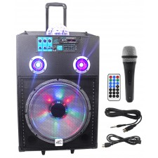 """NYC Acoustics N15BR 15"""" 600w Portable Rechargeable Speaker w/Bluetooth+LED's+Mic"""
