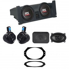 """1997-2006 Jeep Wrangler TJ MTX (2) 10"""" Subwoofers+Box+Front+Rollbar Speakers+Amp"""