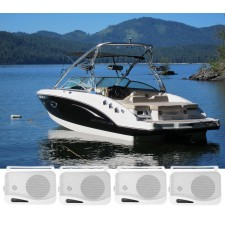 "(4) Rockville HP4S-8 4"" Marine Box Speakers with Swivel Bracket For Boats"