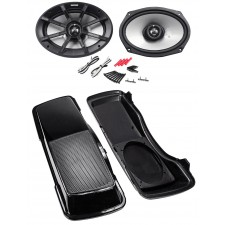 "1996-2013 Harley Davidson 6x9"" Kicker Speakers w/Saddle Bag Speaker Covers"
