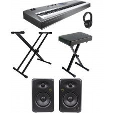 "Yamaha MM8 Music Synthesizer Keyboard+Bench+Headphones+Stand+5"" Powered Monitors"