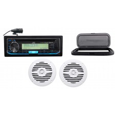 "JVC Hot Tub Audio System w/Stereo Bluetooth Receiver+(2) 5.25"" White Speakers"