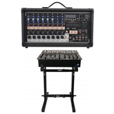 Peavey Pvi8500 400 Watt 8-Channel Powered Live Sound Mixer w/ Bluetooth + Stand